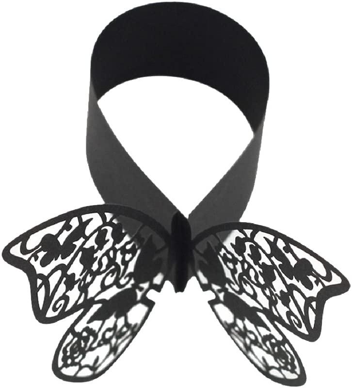 Bjduck99 Hollow Butterfly Napkin Ring Holder Wedding Banquet Dinner Table Decoration Black