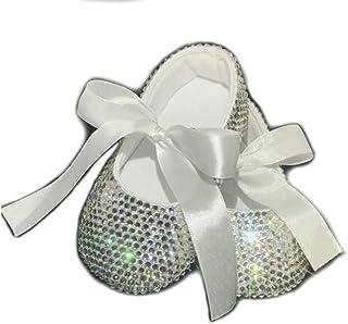 SCARPE BALLERINE BAMBINA BABY NEONATA 0-6 MESI CRISTALLI STRASS Battesimo Cerimonia Matrimonio Shoes Brillabenny