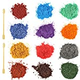 Funxim Naturale Pigmenti Coloranti 12 × 10g con Cucchiaio, Mica Polvere Colorante Polveri Perlato per Slime, Bombe da Bagno, Resina, Sapone, Candela, Nail Art, DIY, Make up (12 Color)