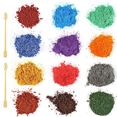 Funxim Epoxidharz Farbe 12er×10g mit Löffel, Seifenfarbe Set Metallic Farbe Resin Farbe, Mica Powder Pigmente Pulver für Seife Kunstharz Gießharz Malerei DIY
