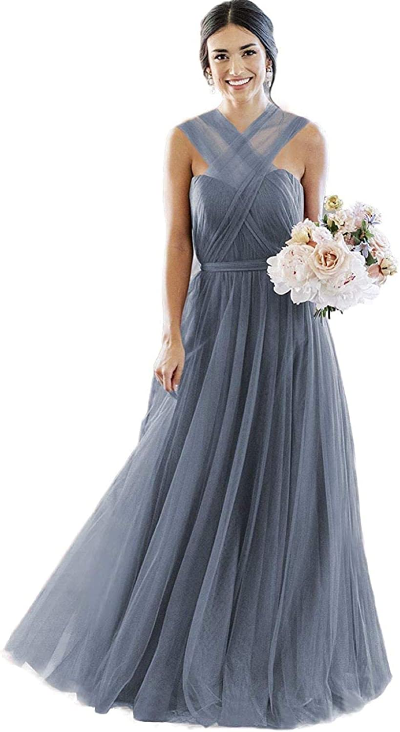 Women's Sweetheart Maxi Tulle Bridesmaid Dresses Long Tulle Straps Backless A-line Formal Wedding Party Dress