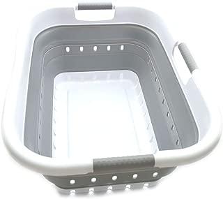 SAMMART Collapsible Plastic Laundry Basket - Foldable Pop Up Storage Container/Organizer - Space Saving Hamper/Basket (3 Handled Rectangular, White/Grey)