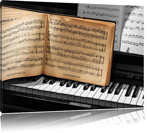 antikes Notenbuch auf Piano schwarz/weiß Format: 100x70 auf Leinwand, XXL riesige Bilder fertig gerahmt mit Keilrahmen, Kunstdruck auf Wandbild mit Rahmen, günstiger als Gemälde oder Ölbild, kein Poster oder Plakat