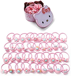 40 Pcs (20 Pairs) Cute Cartoon Elastic Hair Tie Bands Ropes Little Girls Toddlers Ponytail Holder