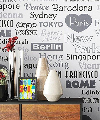 Tapete Vlies Schwarz Weiß Grau Metropole Städte   schöne edle Tapete im natürlichen Design   moderne Optik für Wohnzimmer, Schlafzimmer oder Küche inkl. Newroom Tapezier Profibroschüre mit super Tipps