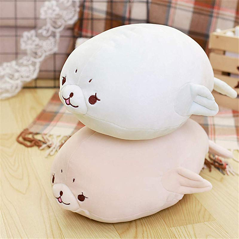 Succeedtop Seal Stuffed Animals Soft Down Cotton Seal Plush Toy Sleeping Pillow Doll Comforting Doll Animal Pillow