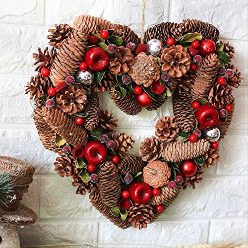 ZHENGXIN Snow Flocked Christmas Wreath,Door Wreath,Handmade Berry Pine Cone Heart-shaped Garland Christmas Family Door And Window Decoration 33x35cm