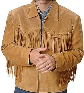SleekHides Men`s Finged Cowboy Western Leather Jacket Simple