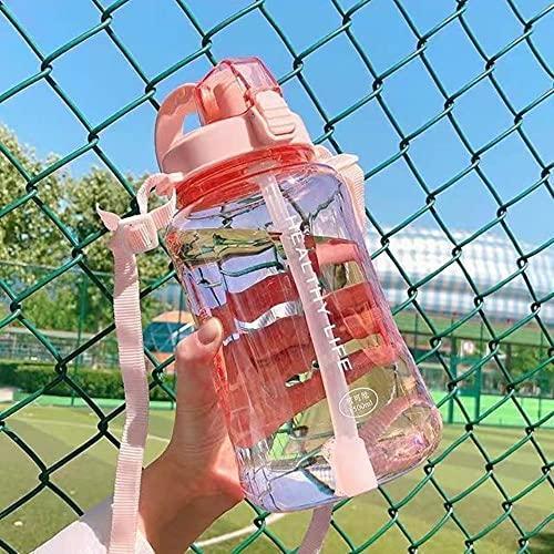 2000ML Botella de agua de gran capacidad Botellas deportivas portátiles con pajita Camping Ciclismo Viajes Jugo de plástico Drinkware-2L Con pegatinas, Rosa