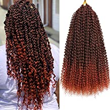 7 Packs Passion Twist Hair Braids 18 Inch Water Wave Synthetic Hair for Passion Twist Crochet Braiding Hair Goddess Locs Long Bohemian Locs (22Strands/Pack, T350#)