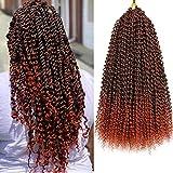 7 Packs Passion Twist Crochet Hair Braids 18 Inch Water Wave Synthetic Hair for Passion Twist Crochet Braiding Hair Goddess Locs Long Bohemian Locs (22Strands/Pack, T350#)