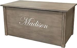 Wood Toy Box, Large Gray Toy Chest, Personalized Edwardian Font, Custom Options (Cedar Base)