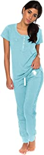 Womens Short Sleeve Shirt and Long Pajama Pants Sleepwear...