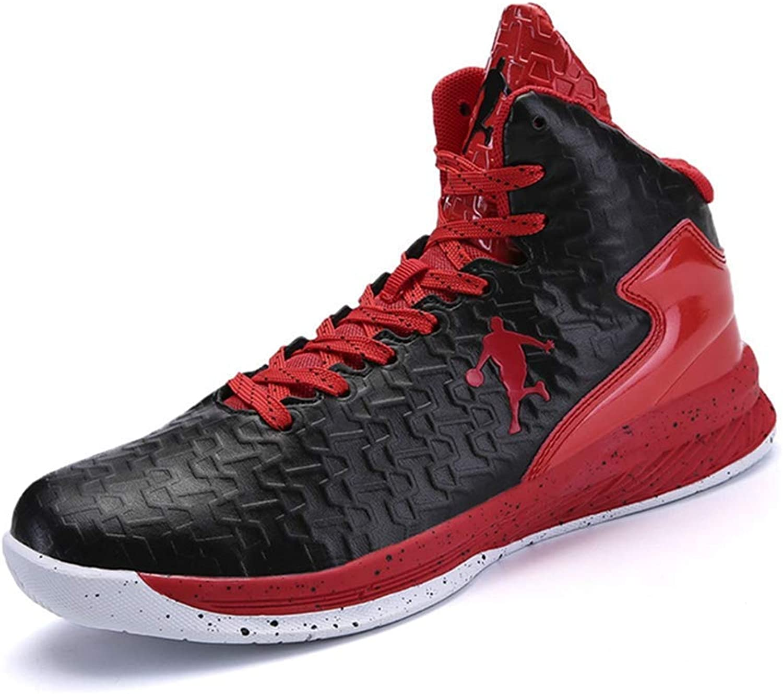 ZHRUI Mnner Basketball Schuhe Frauen Sport Trainer Stiefeletten Dmpfung Anti-Rutsch-Korb Unisex Turnschuhe (Farbe   Schwarz Rot, Gre   4.5=38 EU)