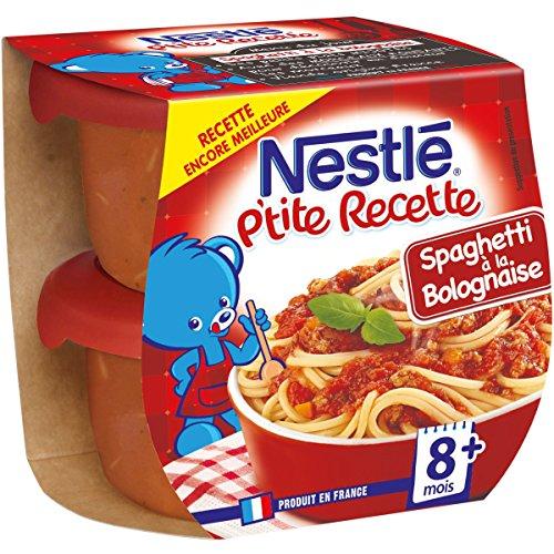 Nestlé Bébé P'tite Recette Spaghetti à la Bolognaise - Plat complet dès 8 mois - 2 x 200g - Pack de 8 ( 16 Plats )