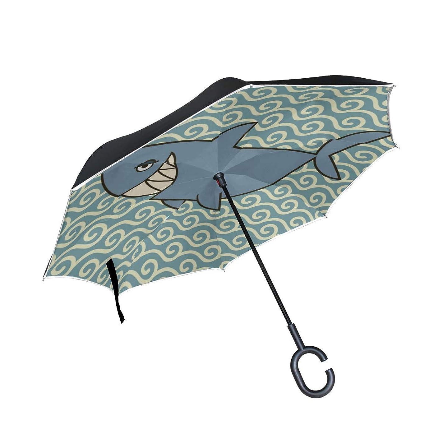アラビア語店主宿題CYDBQ 逆さ傘 カッコイイ動物 サメ 長傘 逆折り式傘 折りたたみ傘 逆転傘 手離れc型手元 耐風 撥水 車用 晴雨兼用 8本骨 梅雨対策 Uvカット 自立