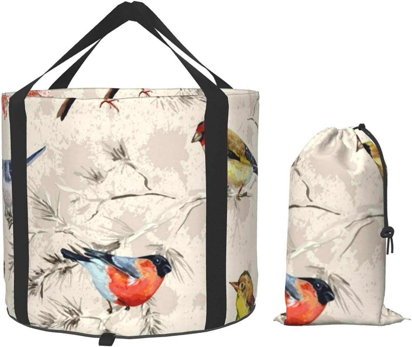 Watercolor Bird Collapsible Bucket Portable B Folding Basin 2021 model Wash Sale item