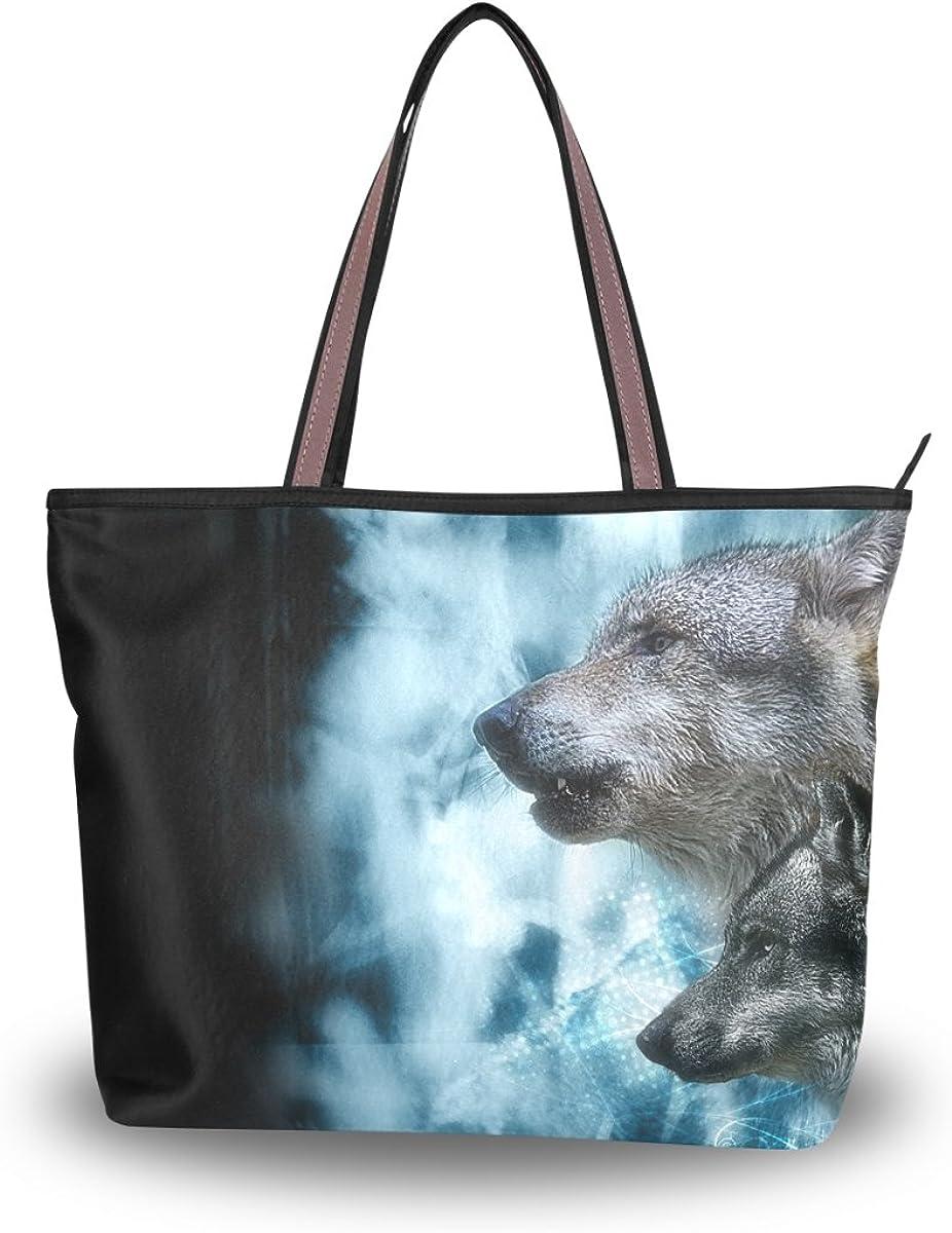 JSTEL Women Large Tote Top Handle Shoulder Bags Wolf Patern Ladies Handbag L