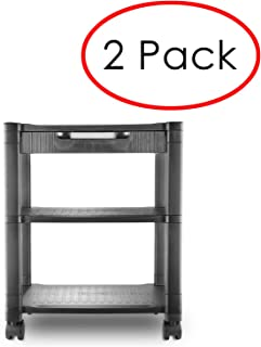 Circuit City 2 Pack of PS3T 3 Shelf Wheeled Rolling Printer Cart Machine Stand with Built-in Storage and Cable Management - Holds Up to 75 Pounds (Black)