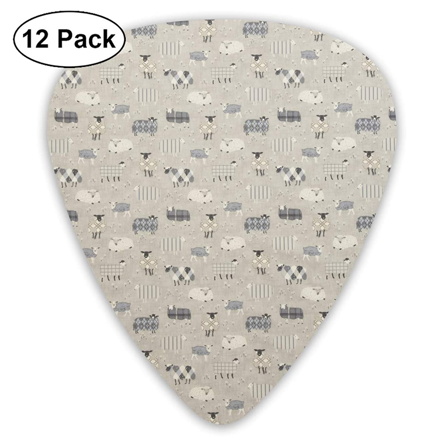 351 Shape Classic Guitar Picks Sheep Pattern Plectrums Instrument Standard Bass 12 Pack