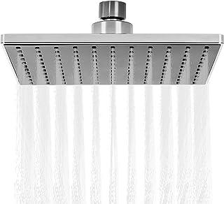 Rain Shower Head High Pressure, 8 Inch Air Boost Waterfall Square Showerhead, Adjustable Angle, Full Body Coverage Rainfall Fixed Shower Head for Bathroom (Sliver&Black)