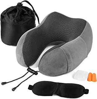 Fvstar Travel Pillow Memory Foam Neck Pillow for Airplane Breathable Neck Support Pillow Comfortable Car U Shape Head Pillow with Sleep Mask & Earplugs Gray