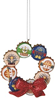 MIDWEST-CBK Beer Bottle Cap Wreath Man Cave Christmas Ornament