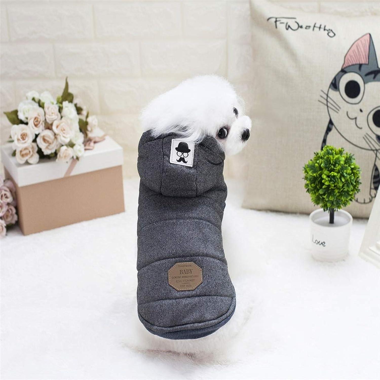 Pet Supplies Pet Dogs Clothes Moustache Both Feet Warm Plush Hooded Coat, Size  XL, Bust  47cm, Neck  32cm (color   Grey)
