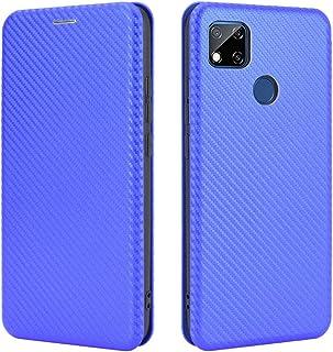 電話のフリップケース Xiaomi Redmi 9Cケース、高級カーボンファイバーPUおよびTPUハイブリッドケースフルプロテクションXiaomi Redmi 9c用の耐衝撃フリップケースカバー スマートフォンバックカバー (Color : B...