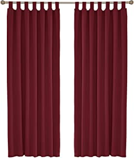 UMI. by Amazon - Cortinas Opacas de Dormitorio Moderno con Trabillas 2 Piezas con Ojales 140 x 290 cm Rojo Oscuro