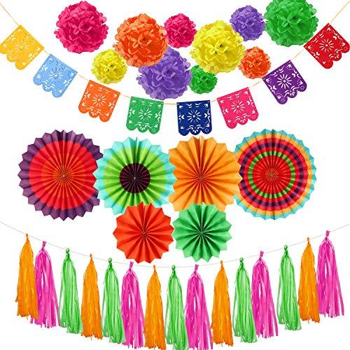 Outus La decoración Fiesta de 39 Piezas,Pompones de Papel tisú, Pancarta de Papel picado de Fieltro y Borla de Papel tisú para Decoraciones de Fiestas mexicanas, Bodas, cumpleaños, Cinco de Mayo
