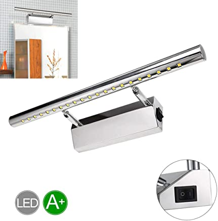 Elviray 5W LED Lampe Miroir en Acier Inoxydable Rotatif ...