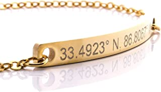 Bracelet Coordinate Bar Bracelet Engraving 16k Gold Plated Dainty GPS Personalized dainty Initial Charms Bridesmaid Mothers day gift Best Graduation Day gift