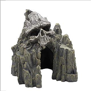 Rtengtunn Acuario Acuático Paisajismo Decoración de rocalla Cráneo Montaña Adorno Tanque de Peces