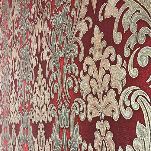 QUADRUPLE ROLL 113.52sq.ft (4 single rolls size) European Slavyanski wallcovering washable victorian pattern Vinyl Non-Woven Wallpaper red burgundy gold textured stripe glitters metallic damask 3D