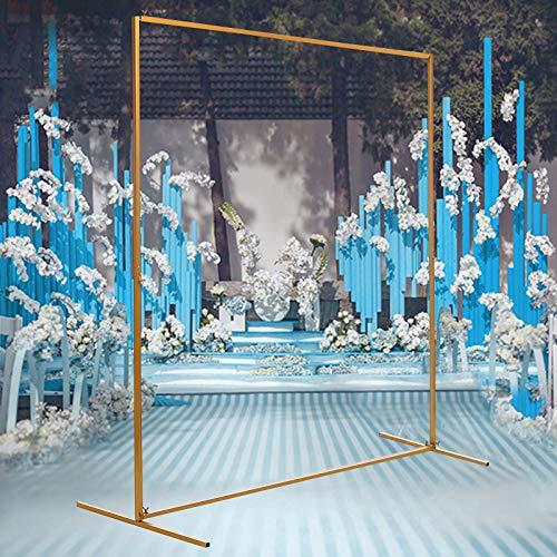 Arco para puerta de boda, 2 x 1,5 m, estructura de arco, de hierro forjado, accesorios decorativos para flores dorados para todo tipo de festival, bodas, con barra de acoplamiento