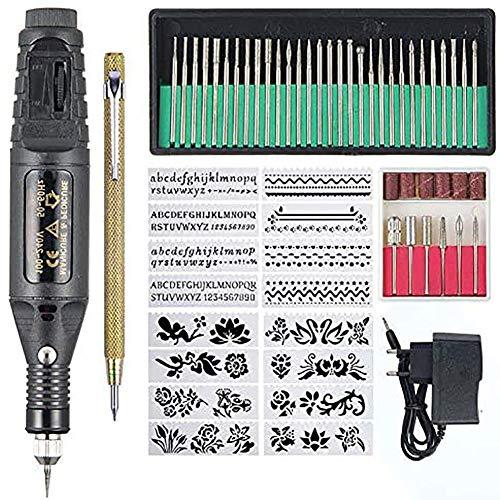 WRJ Gravure Stylo De Gravure Électrique, Outil Rotatif Réglable Vitesse Facile À Utiliser Léger Et Compact Mini Bricolage Armure Nail Art,1