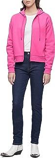 Jeans Women's Metallic Logo Printed on The Hood Zipper Jacket