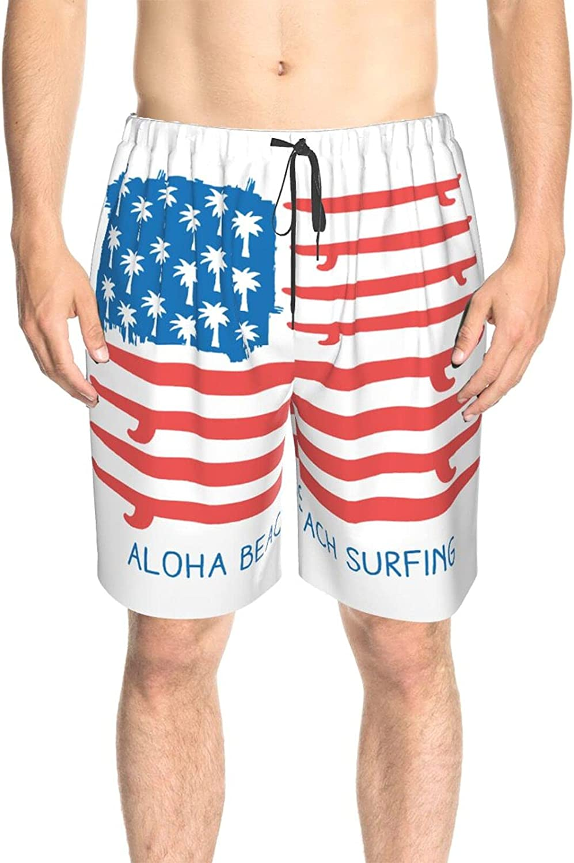 JINJUELS Men's Swim Shorts American Flag Surfboard Beach Surfing Swim Short Boardshort Drawstring Elastic Beach Swim Trunk