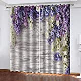 meilishop Cortinas Opacas Impresión 3D Flor Púrpura Cortinas Opacas Diseño Dormitorio Sala De Estar Uso Doble Limpieza Fácil 290(H) x140(An) Cmx2 Piezas/Set