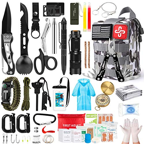 Survival Kit, 220Pcs Emergency Survival Gear First Aid Kit Molle System Compatible Outdoor Survival Gear,Emergency Kits with Trauma Bag for Camping Boat Hunting Hiking and Adventures, for Men