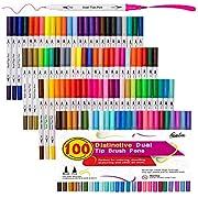 100 couleurs stylos pinceau double pointe avec des marqueurs d'art Fineliners, Feela aquarelle pointe double pinceau et surligneurs pour adultes livres à colorier, Art, croquis, calligraphie, manga, Bullet Journal