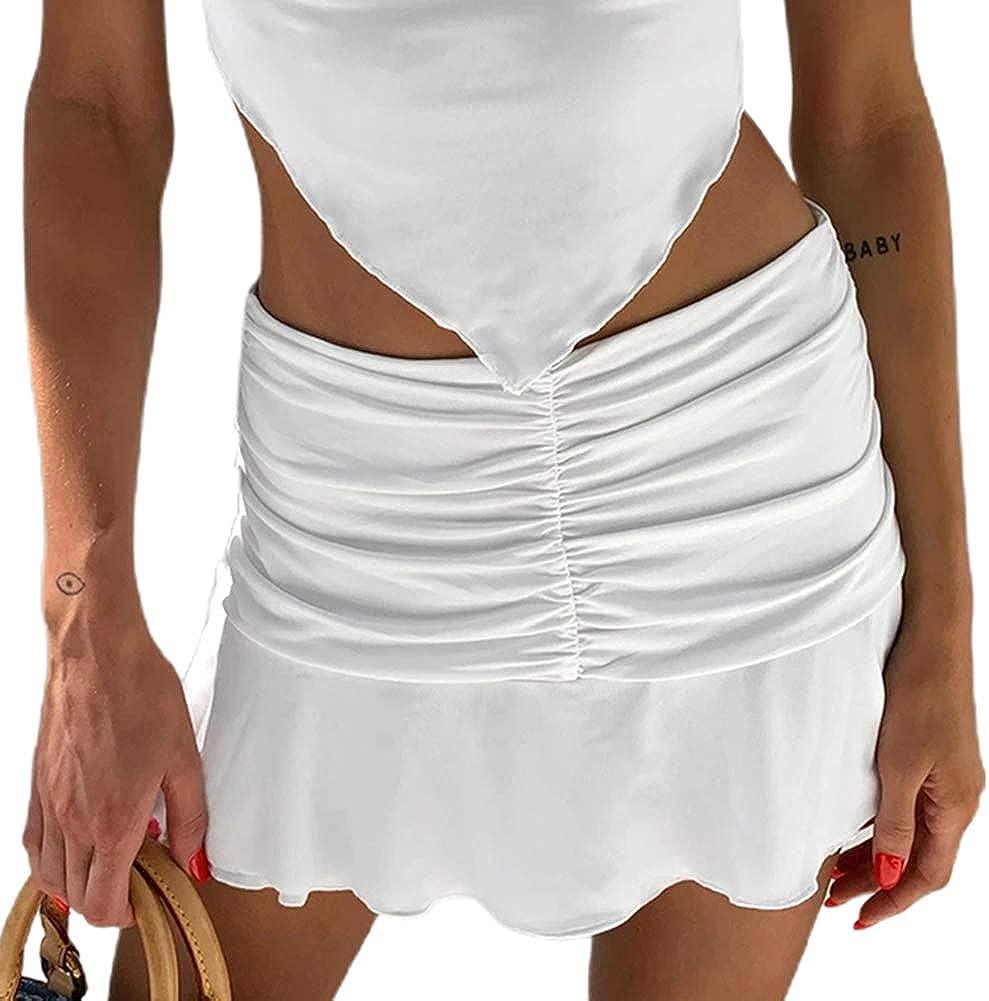 Women's Basic Solid Y2K E-Girls Retro 90S Skirt Pleated Ruffle Ruched A-Line High Waist Preppy Beachwear Skirt