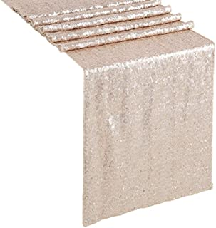 B-COOL Sequence Table Runners Shinny Champagne Blush 12x72-Inch Sparkling Table Runner for Wedding Birthday Cake Dessert