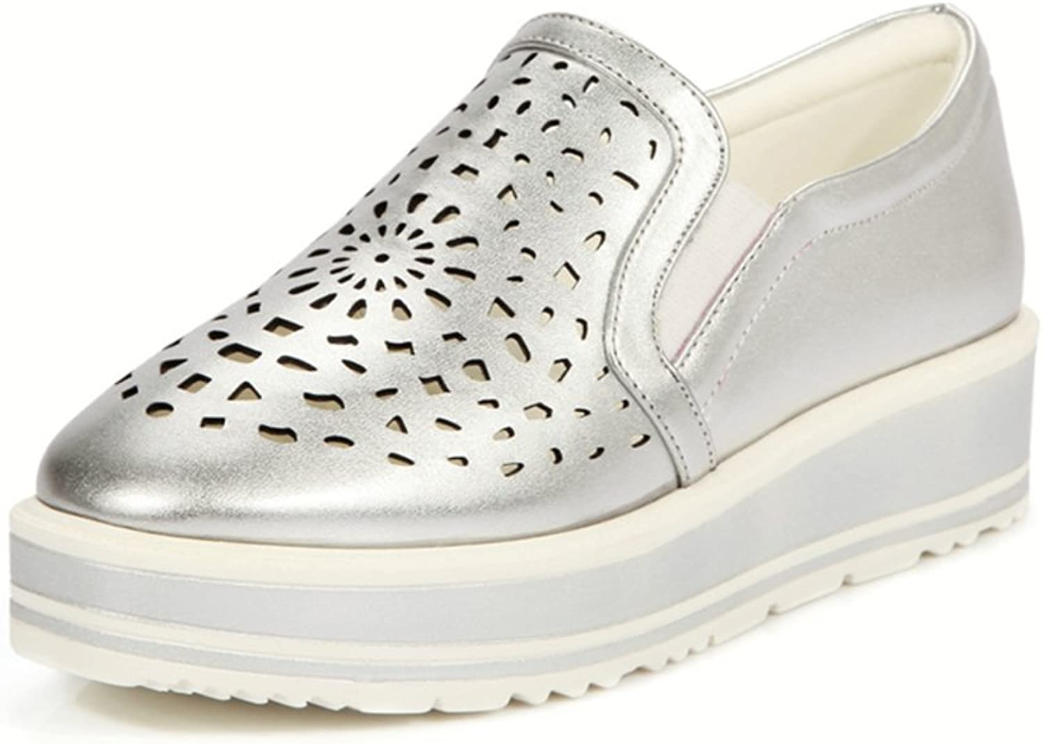 RHFDVGDS thick-soled loafer shoes Hollow feet ladies flat shoes in spring cake recreational shoes