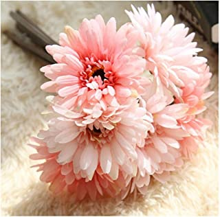 Artfen Artificial Gerbera Flower Artificial Daisy Flowers Bride Bridesmaid Holding Flowers 7 Stems Silk Daisies Flower Wedding Bouquet Living Room Office Party Garden DIY Decoration Pink