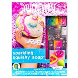 Youniverse Make Your Own Sparkling Squishy Soaps by Horizon Group USA,Girl STEM Science Kit.DIY 5 Colorful Unicorn, Doughnut, Heart, Smiley Face, Pizza Squishy Soap, Multicolor
