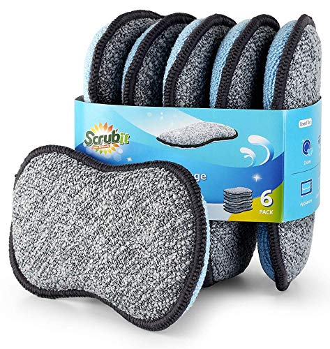 Multi-Purpose Scrub Sponges for Kitchen by Scrub- it - Non-Scratch Microfiber Sponge Along with Heavy Duty Scouring Power - Effortless Cleaning of Dishes, Pots and Pans All at Once (6 Pack , Small)