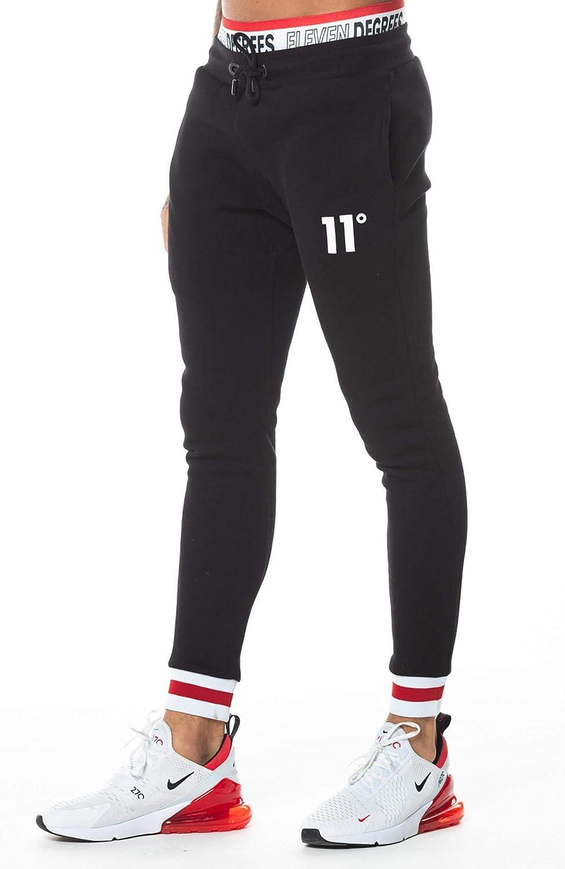 Eleven Degrees 11o Apollo Joggers Skinny Trousers for Men – Cotton Black