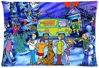 WarmHome Custom Scooby Doo Home Decorative Soft Throw Pillowcase Cushion Custom Pillow Case Cover Protecter with Zipper Standard Size 20x30 Inches Two Sides Printed